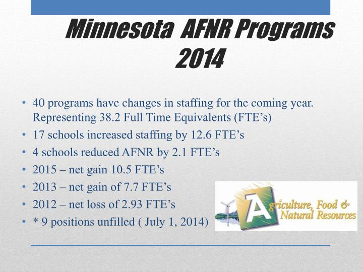 40 programs have changes in staffing for the coming year. Representing 38.2 Full Time Equivalents (FTE's)