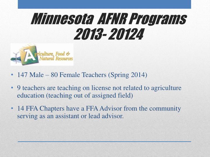 Minnesota  AFNR Programs 2013- 20124