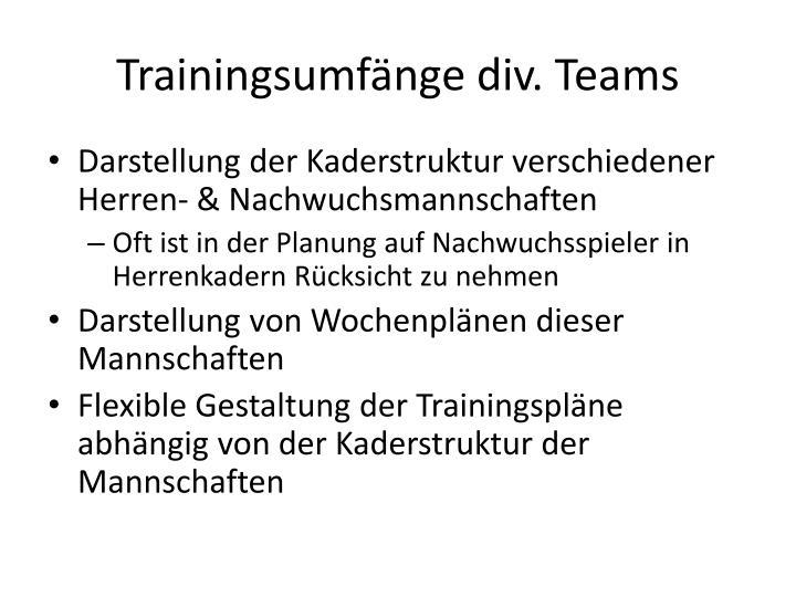 Trainingsumfänge div. Teams