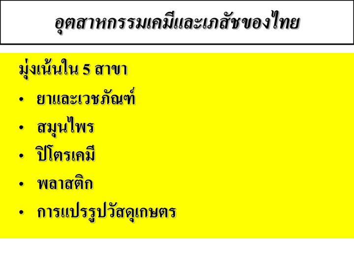 อุตสาหกรรมเคมีและเภสัชของไทย