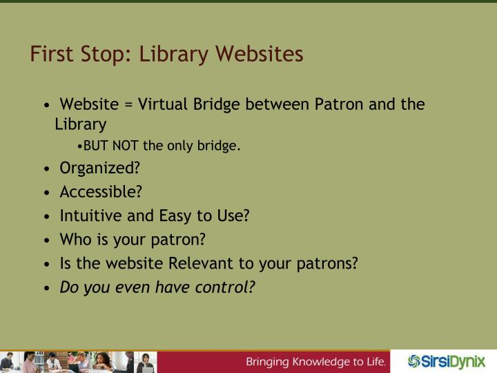 First Stop: Library Websites