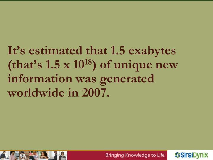 It's estimated that 1.5 exabytes (that's 1.5 x 10