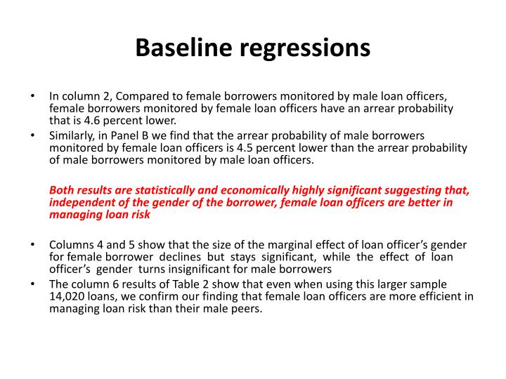 Baseline regressions