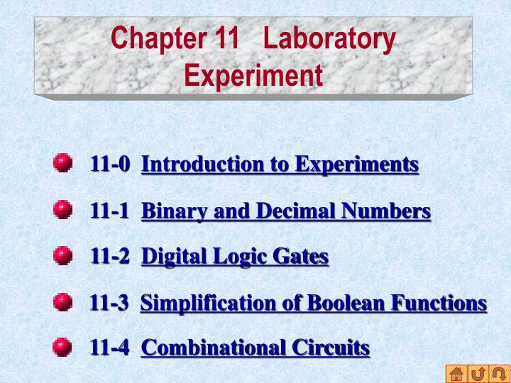 Chapter 11 laboratory experiment