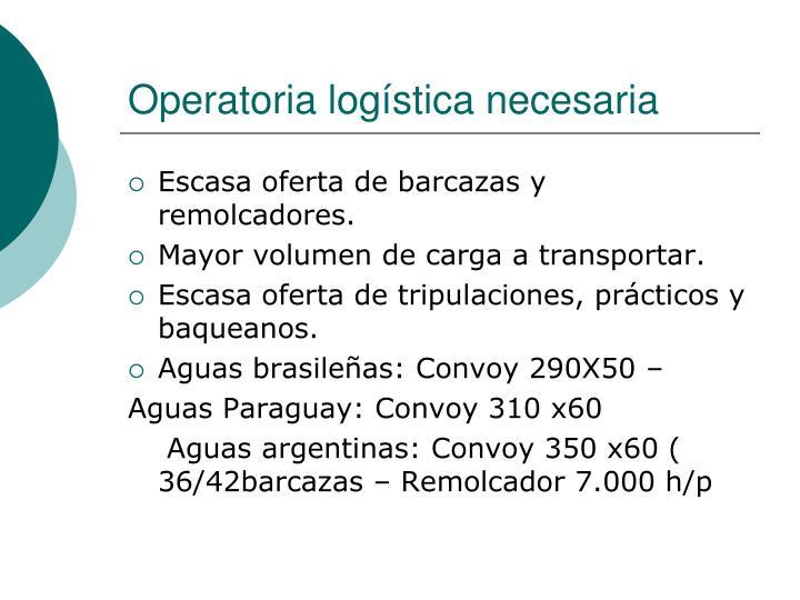 Operatoria logística necesaria