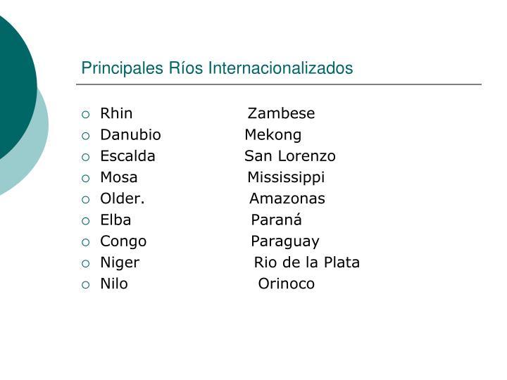 Principales Ríos Internacionalizados
