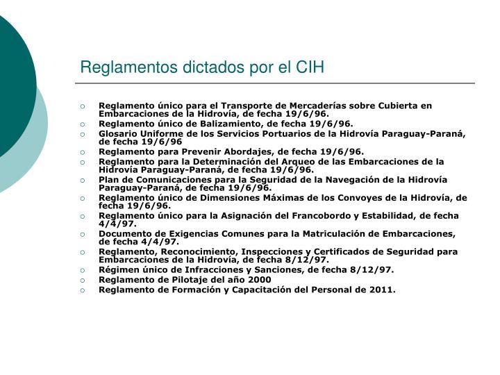Reglamentos dictados por el CIH