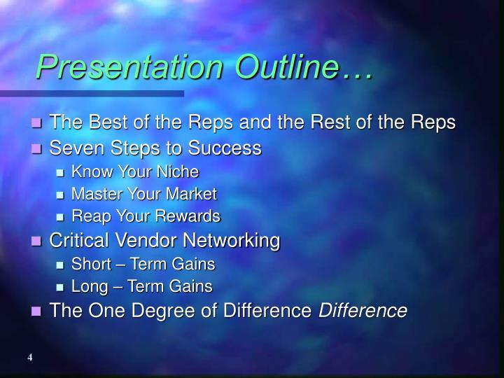 Presentation Outline…
