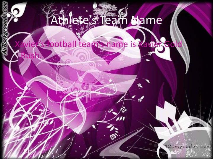 Athlete's Team Name