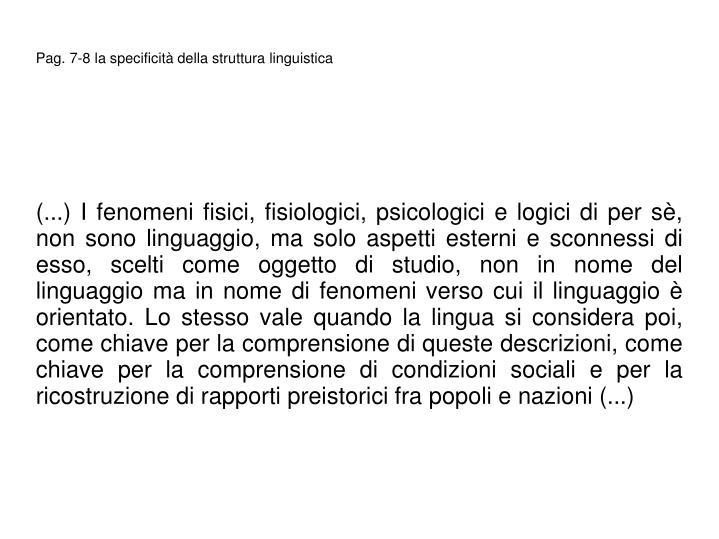 Pag. 7-8 la specificit della struttura linguistica