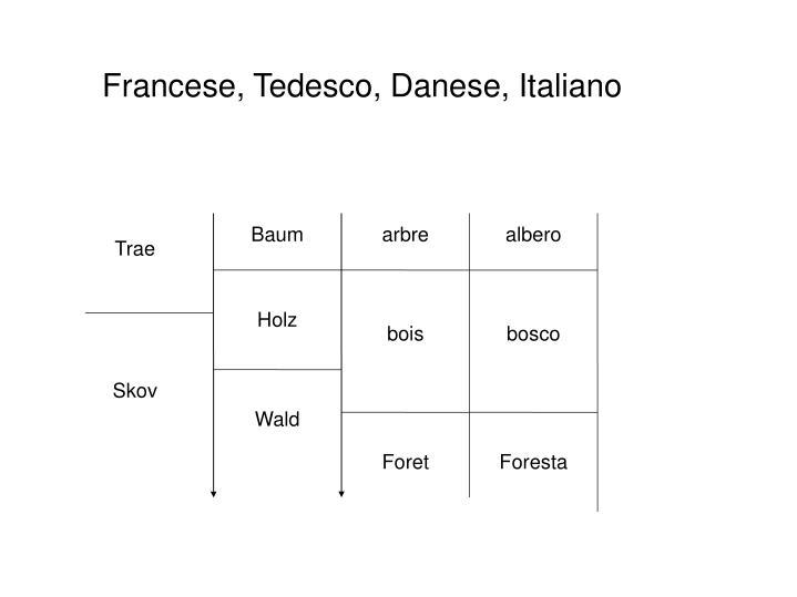 Francese, Tedesco, Danese, Italiano