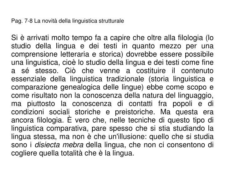 Pag. 7-8 La novit della linguistica strutturale