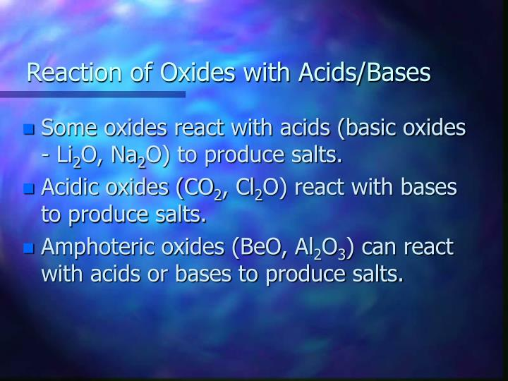 Reaction of Oxides with Acids/Bases