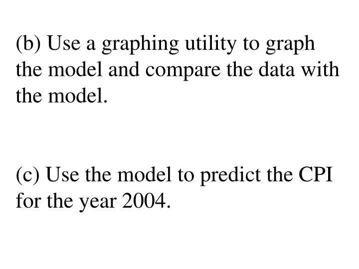 (b) Use a graphing utility to graph the model and compare the data with the model.