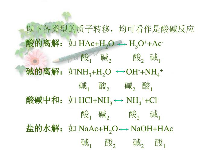 以下各类型的质子转移,均可看作是酸碱反应