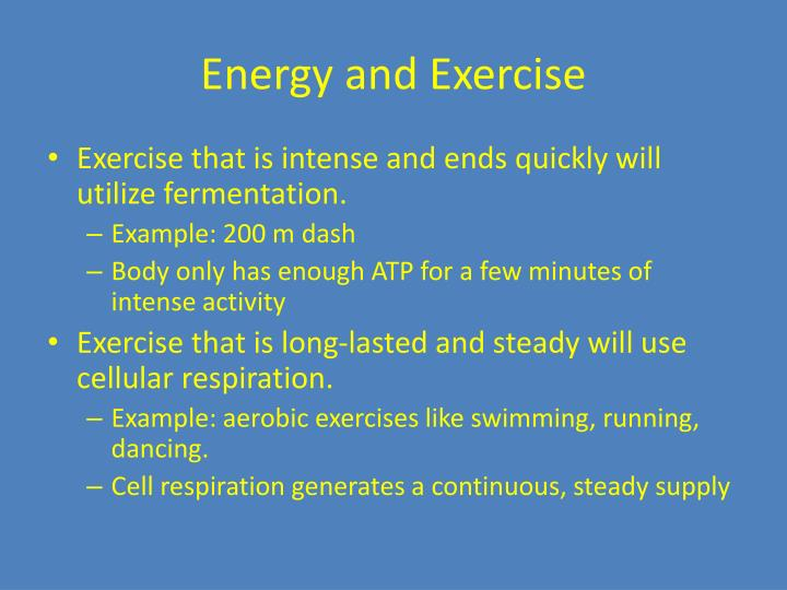 Energy and Exercise
