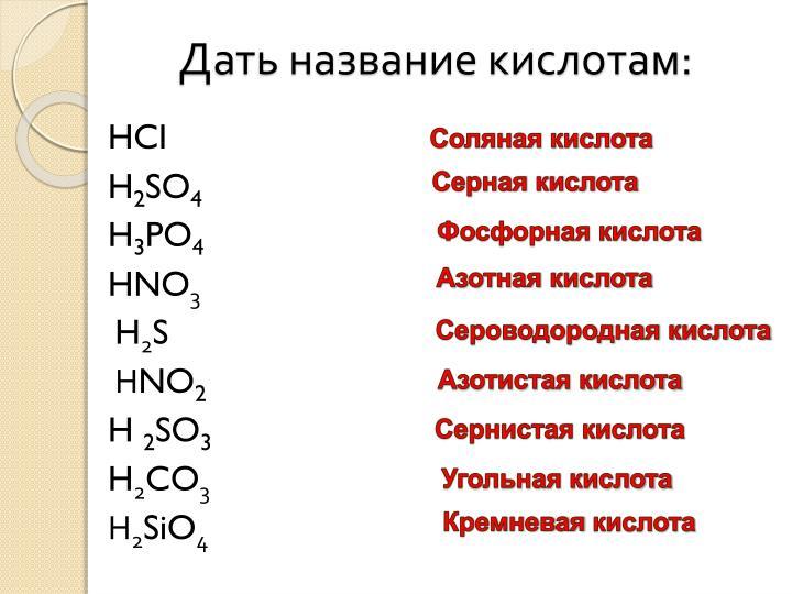 Дать название кислотам: