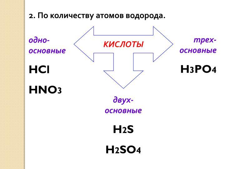 2. По количеству атомов водорода.