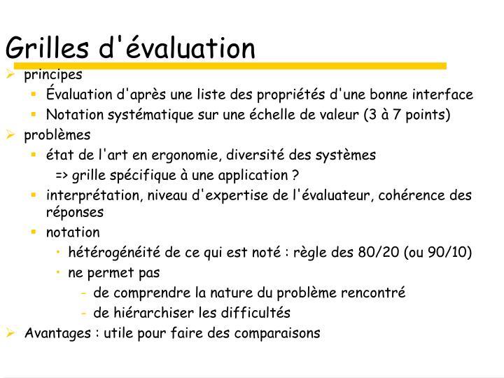 Grilles d'évaluation