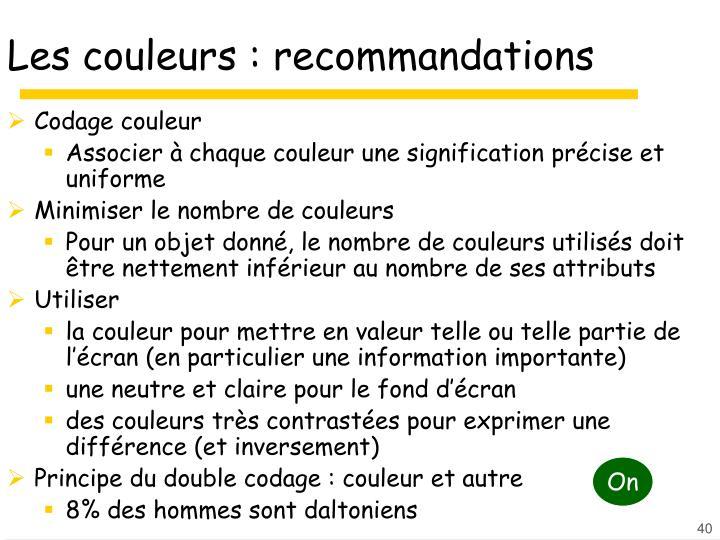 Les couleurs : recommandations
