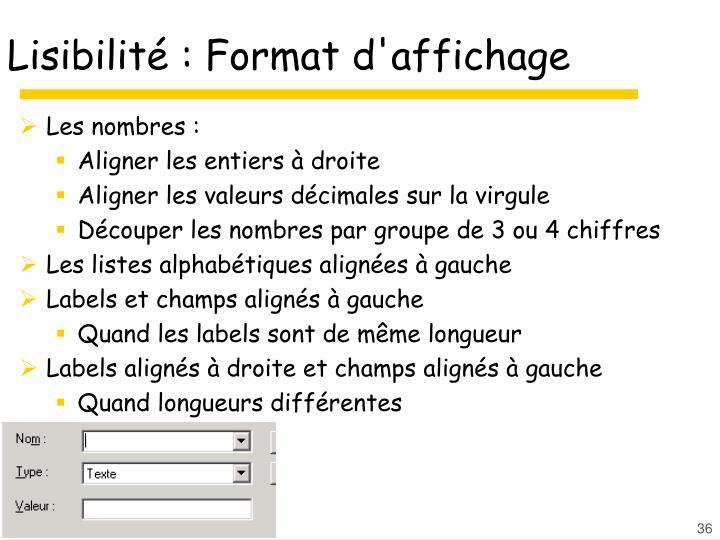 Lisibilité : Format d'affichage