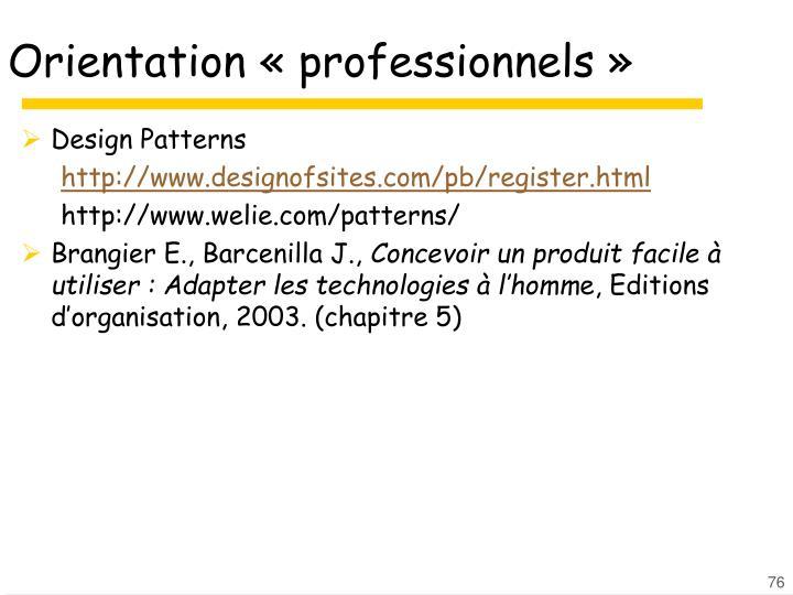 Orientation «professionnels»
