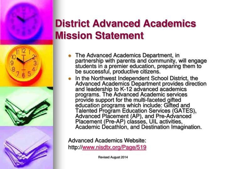 District Advanced Academics Mission Statement