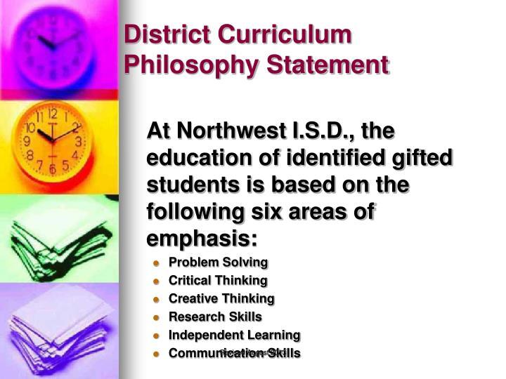 District Curriculum Philosophy Statement