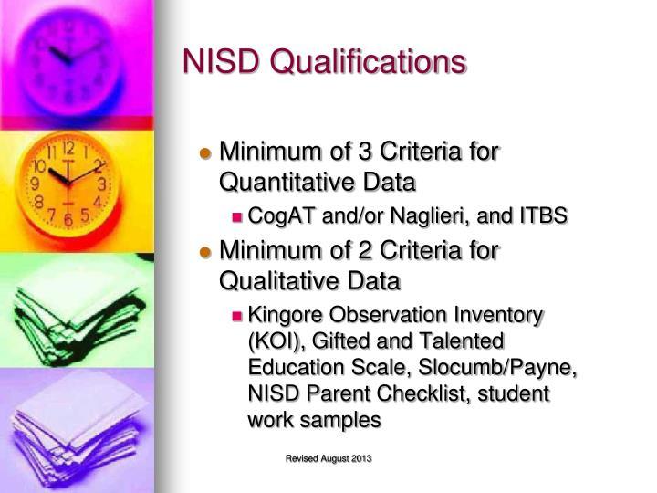 NISD Qualifications