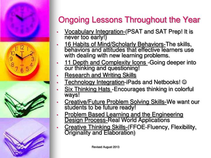 Ongoing Lessons Throughout the Year