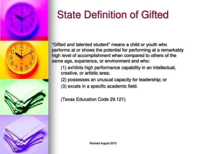 State Definition of Gifted