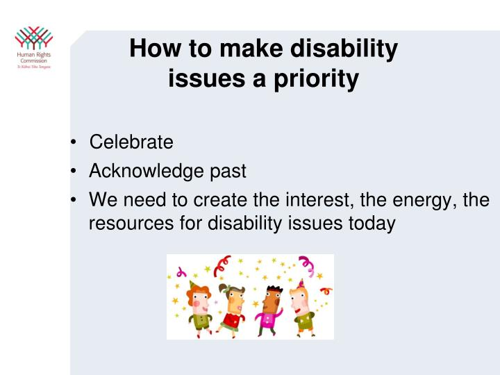 How to make disability issues a priority