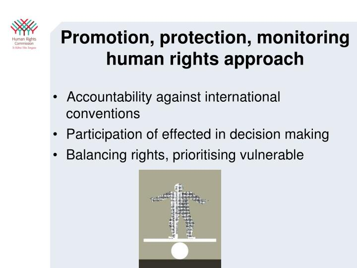 Promotion, protection, monitoring human rights approach