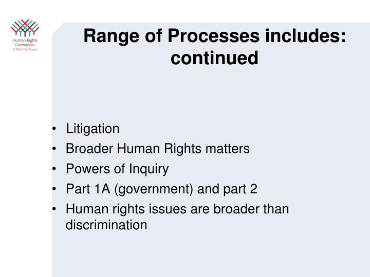 Range of Processes includes: continued