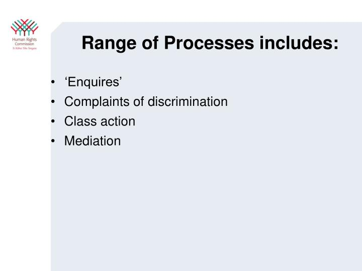 Range of Processes includes: