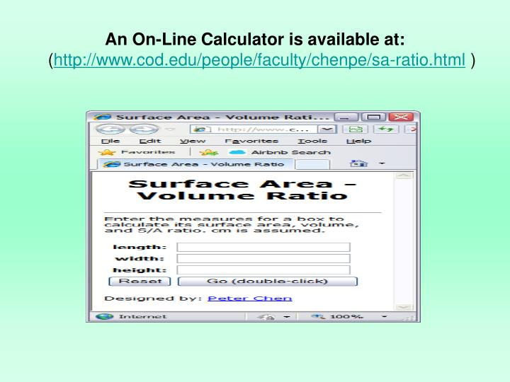 An On-Line Calculator is available at: