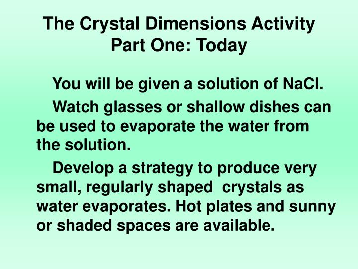 The Crystal Dimensions Activity