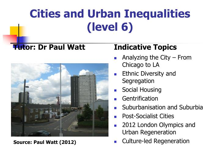 Cities and Urban Inequalities (level 6)