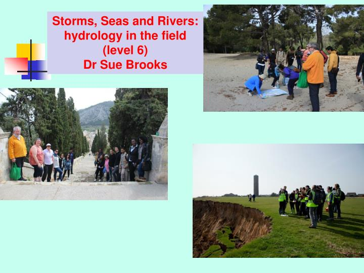 Storms, Seas and Rivers: hydrology in the field