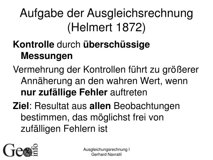 Aufgabe der Ausgleichsrechnung (Helmert 1872)