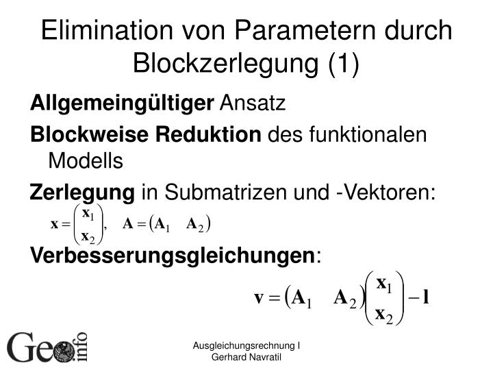 Elimination von Parametern durch Blockzerlegung (1)