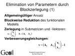 elimination von parametern durch blockzerlegung 1