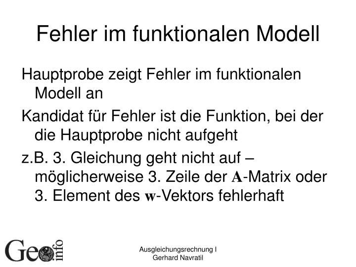 Fehler im funktionalen Modell