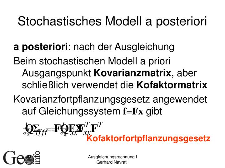 Stochastisches Modell a posteriori