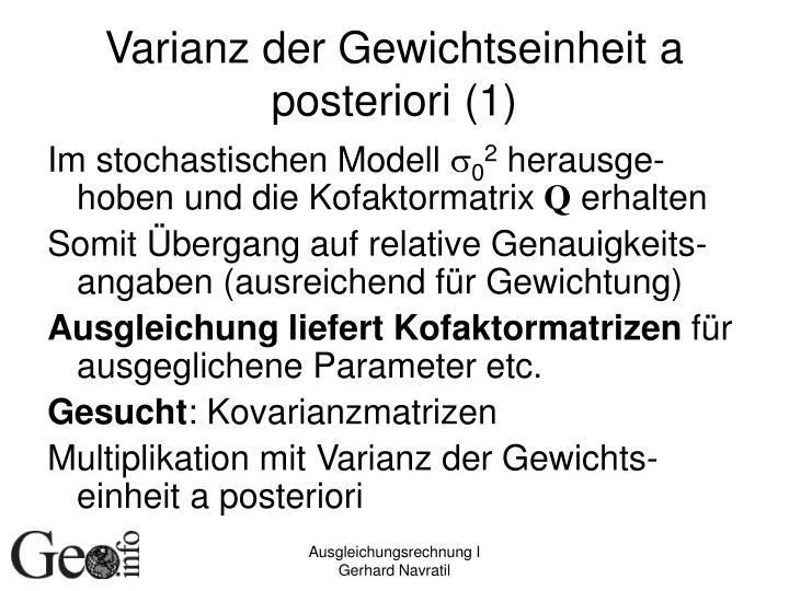 Varianz der Gewichtseinheit a posteriori (1)