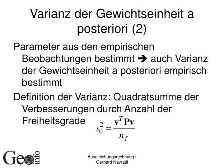 Varianz der Gewichtseinheit a posteriori (2)