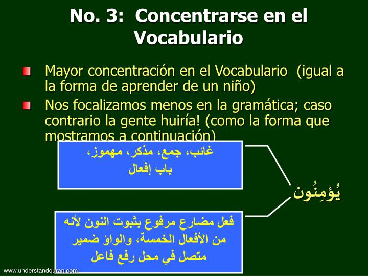 No. 3:  Concentrarse en el Vocabulario