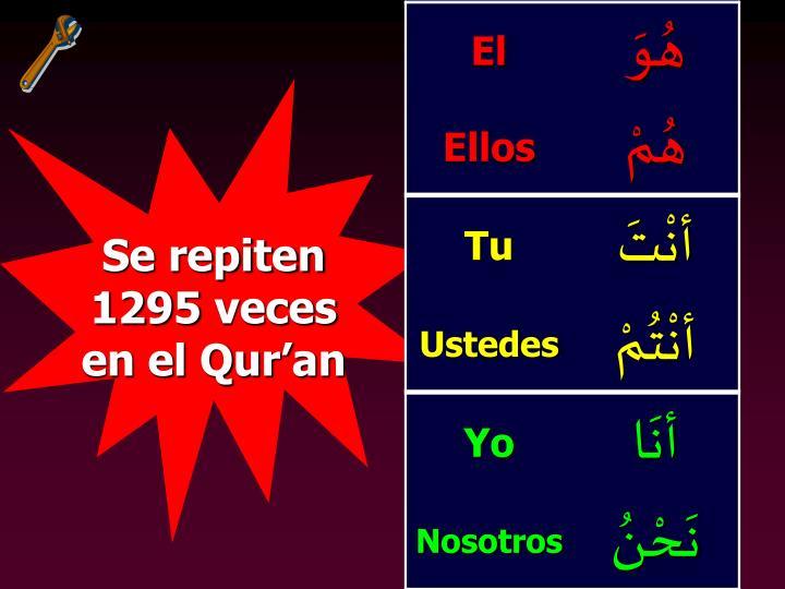 Se repiten 1295 veces en el Qur'an
