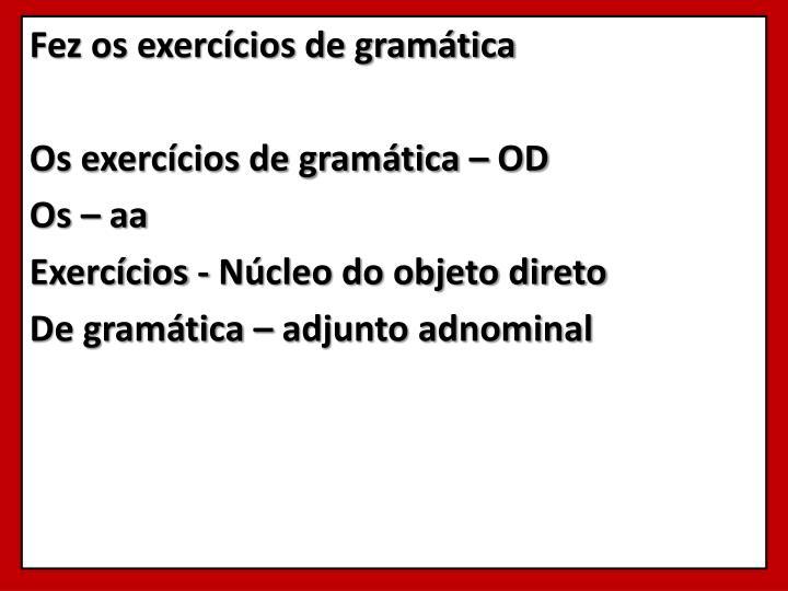 Fez os exercícios de gramática