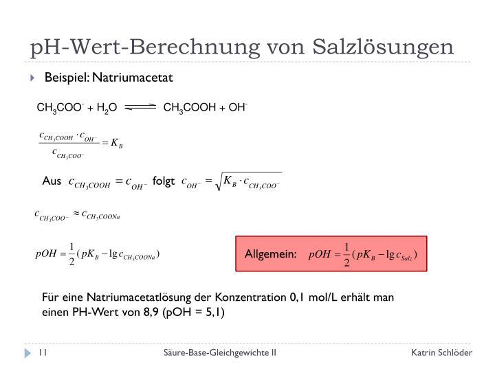 pH-Wert-Berechnung von Salzlösungen